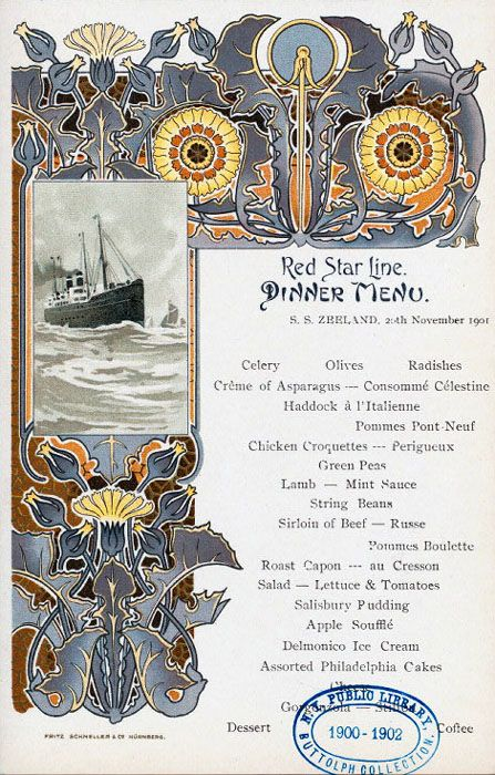 Illustration as it used to be... - Four art nouveau dinner menus for the Red Star...