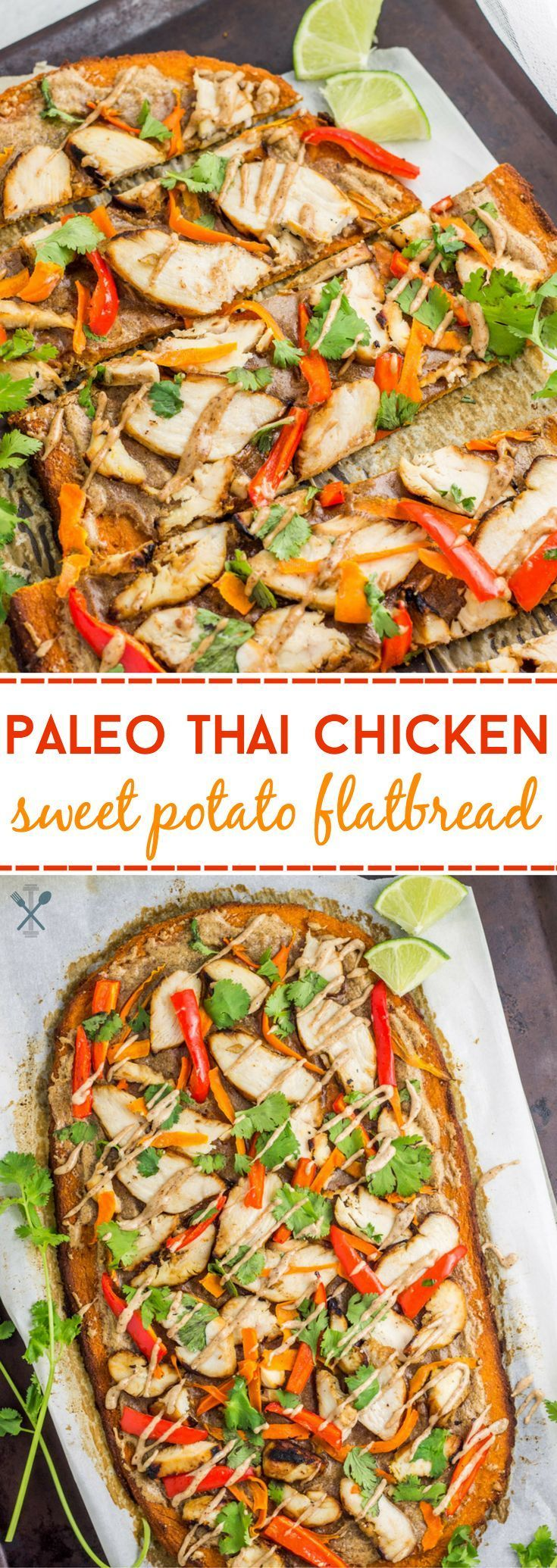 This paleo thai chicken sweet potato flatbread is gluten free, dairy free, and the perfect healthy meal or appetizer