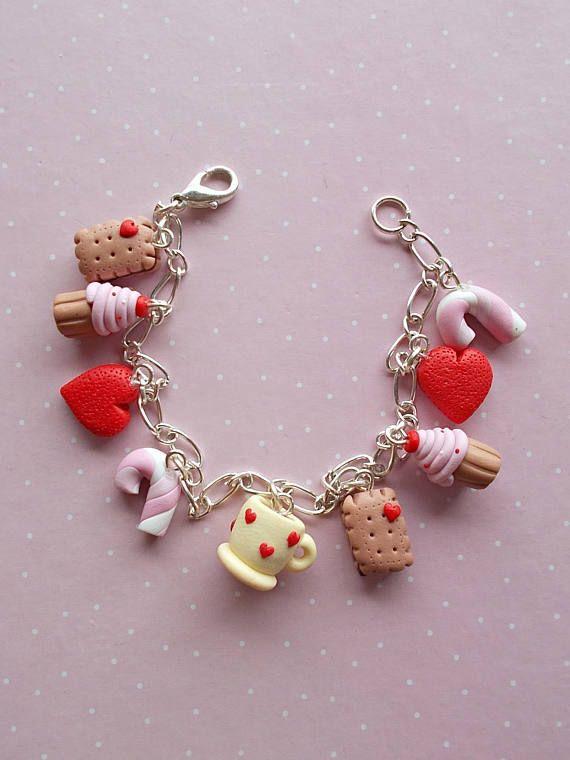 Charm Bracelet For Women Donut Jewelry Food Cute Gift Her Disney Princess Pinterest Polymer Clay
