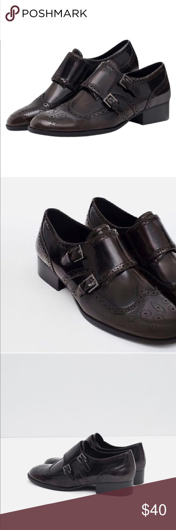 Zara Brown Monkstrap Oxford Loafers Size 8 Zara woman Loafers with brogue Detail. Like new condition. Great paired with cropped jeans white button down and a chunky sweater!! Perfect for those fall days!! 🍂🍁 Zara Shoes