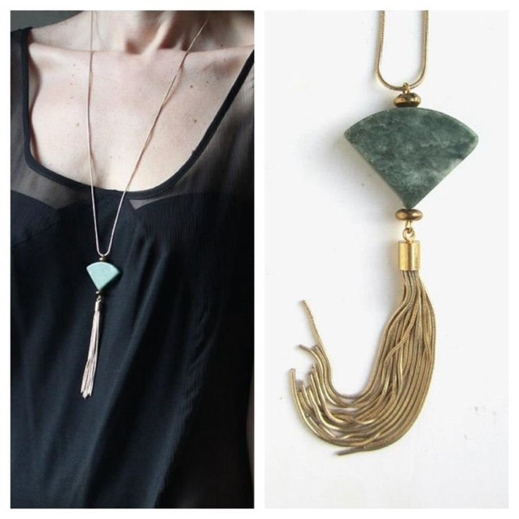 Green marble fan necklace with gold plated brass chain