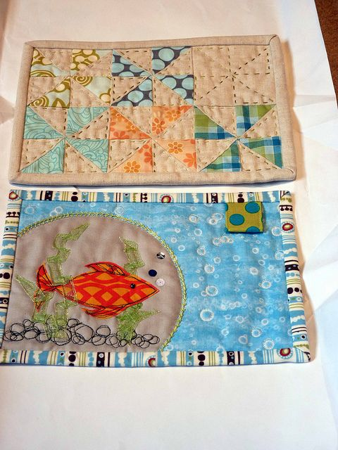 """Mug rugs  I love the fish, and also love the """"disappearing"""" pinwheel in the top right!"""