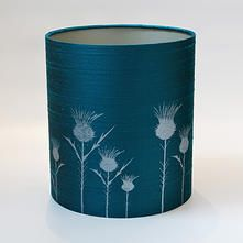 handprinted handmade silk drum lampshades