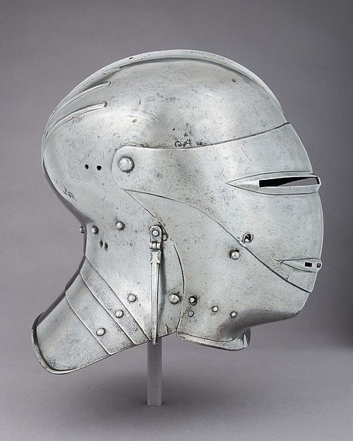Armet Date:ca. 1500 Culture:German Medium:Steel, leather, textile Dimensions:H. 11 in. (27.9 cm); W. 10 3/8 in. (26.4 cm); D. 11 1/2 in. (29.2 cm); Wt. 5 lb. 1 oz. (2296.3 kg) Classification:Helmets Credit Line:Rogers Fund, 1904 Accession Number:04.3.243