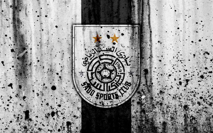 Download wallpapers 4k, FC Al-Sadd, grunge, Qatar Stars League, soccer, art, football club, Qatar, Al-Sadd, Doha, logo, stone texture, Al-Sadd FC