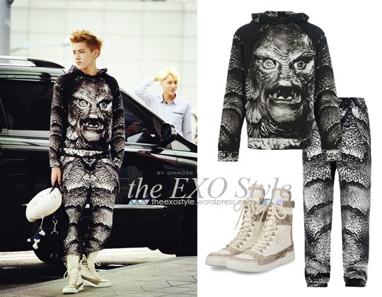 Grey Creature Printed Hoodie and Sweatpants & Python Skin Perforated Leather Hi Top Sneakers in White