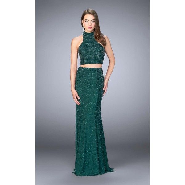 La Femme 24158 Prom Dress 2017 Long High Neckline Sleeveless ($478) ❤ liked on Polyvore featuring dresses, forest green, formal dresses, long prom dresses, 2 piece dress, 2 piece formal dresses, glitter prom dresses and sequin prom dresses