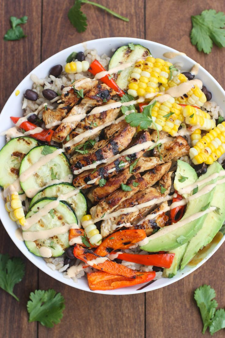 Bbq Ranch Gilled Chicken And Veggie Bowls Served Over