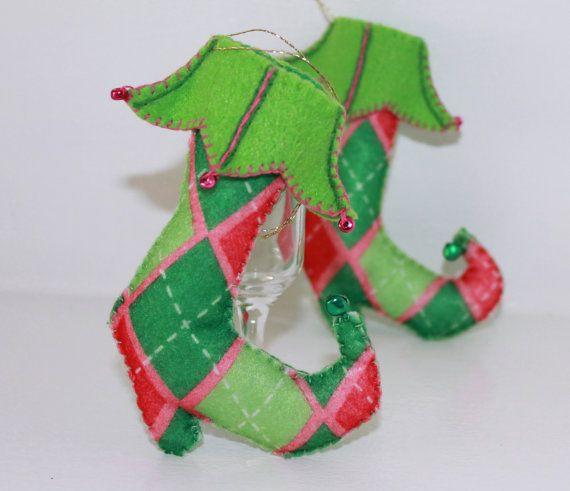 Christmas Felt Hanging Ornament Harlequin by PepitasStudio on Etsy