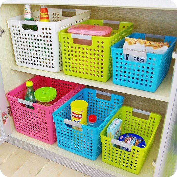 Красочные утолщенной прямоугольный пластиковый корзина хранения кухня ванная комната настольных хранения косметическая корзина хранения отделочных корзина-Таобао