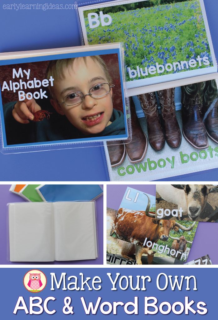 Alphabet and word books are much more exciting for young kids when the pages are filled with familiar pictures. Here are a few ideas to help you make an alphabet book or word book for your home or classroom. This is a perfect speech and literacy activity for kids in tot school, pre-k, preschool, kindergarten, and early childhood education.