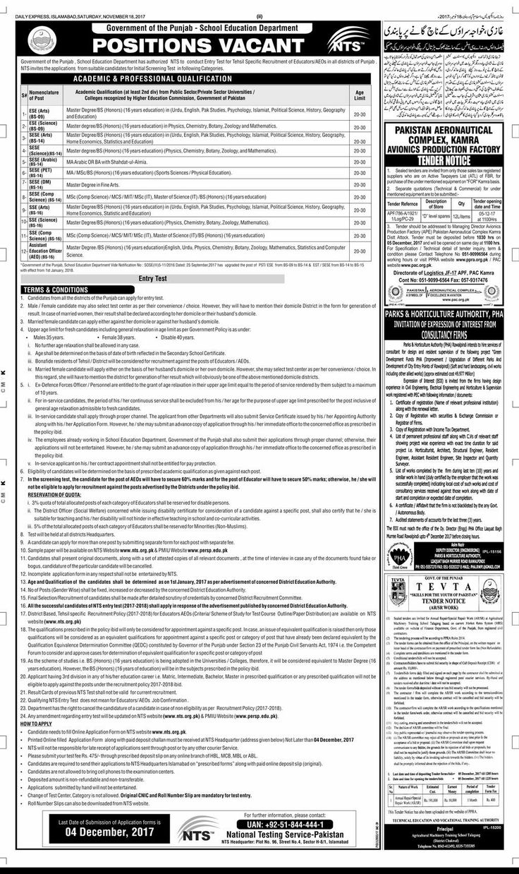 School Education Department Punjab NTS Jobs 2017-18 for Educators
