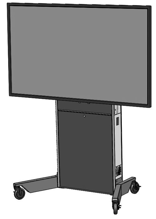 The LFT7000-XL extra large heavy duty mobile lift stand for single XL TV's and interactive displays. It is a self-supporting wheeled stand. Ideal for environments where adjustable height or ADA is required.