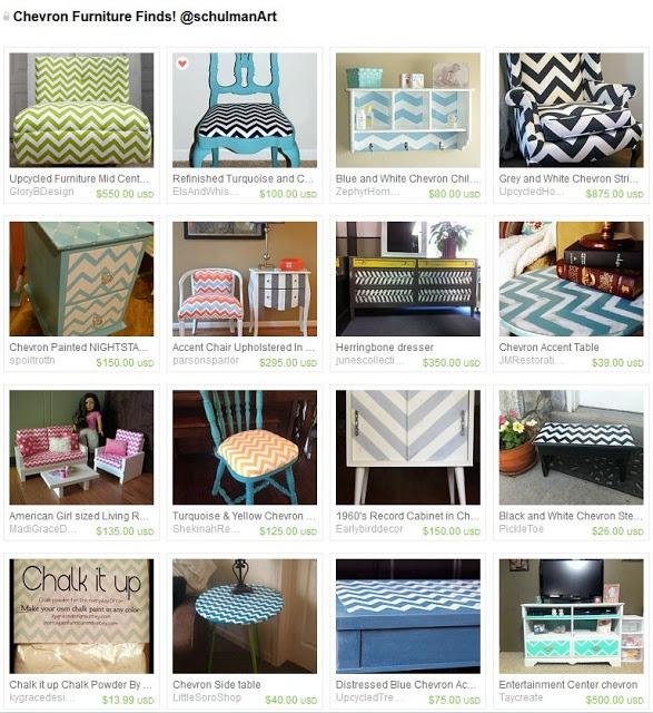 Art Blog for Creative Living: Painting Chevron Stripes on Furniture