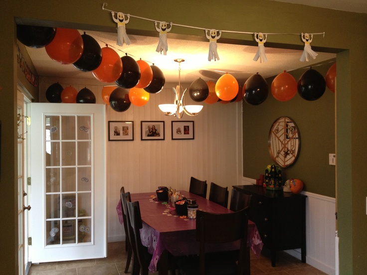 halloweenbirthday party decorations balloons hung with ribbon - Halloween Birthday Party Decorations