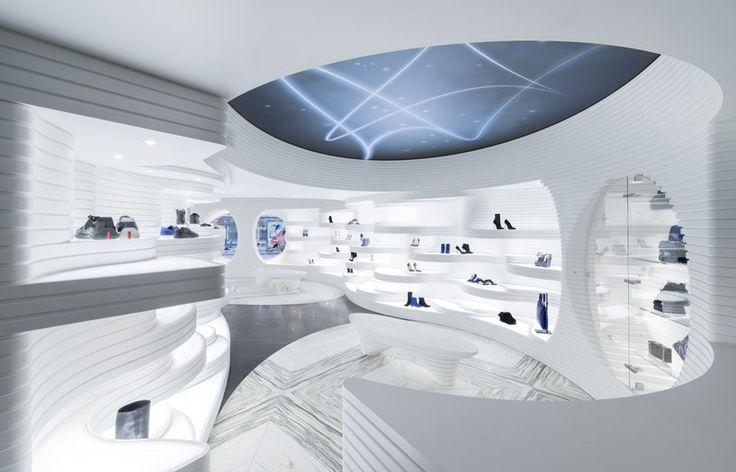 MVSA designs futuristic shoebaloo boutique in amsterdam
