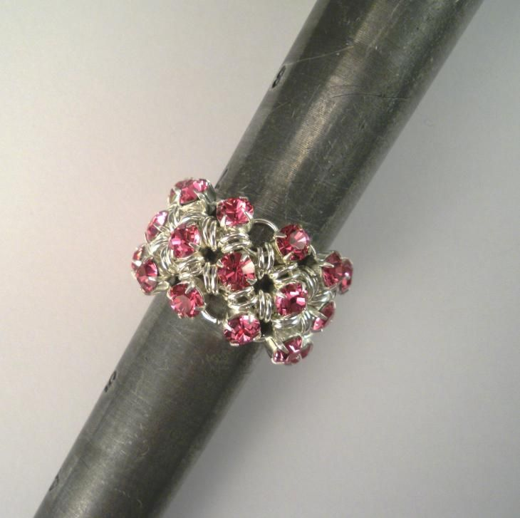 Free Chainmail Patterns Chain Maille | Japanese Chain Maille Eternity Ring in Rose Pink Swarovski Crystal ...