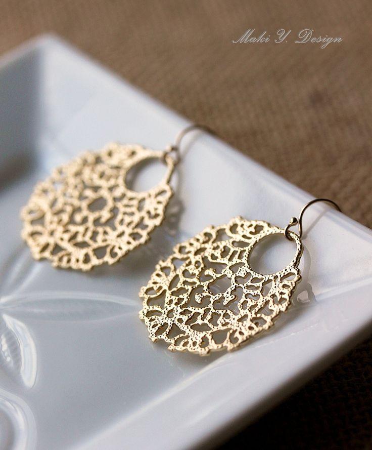 Gold Filigree Earrings  BohoChicElegant14K Gold by MakiYDesign, $17.80