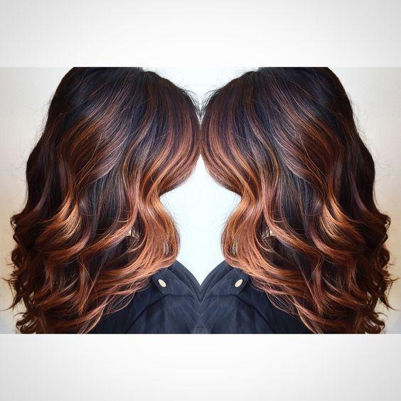 dark copper balayage hair - Google Search