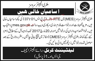 Military Engineering Services Pakistan Jobs 2017 March MES Pakistan Army Latest  Vacancies /Positions:-  === 2252 Vacancies in MES ===  === BPS-07 ===  31 Charge Hand E&M Grade-I  01 Charge Hand B&R Grade-I  === BPS-06 ===  87 Linemen  70 Electricians  54 Oil Engine Drivers  30 Drivers Construction & Road Machinery  27 Charge Hand E&M Grade-II  26 Gas Fitters  22 Fitter Mechanics  20 Switch Board Attendants  15 Meter Readers  08 Welders  08 Instrument Repairers  06 Lift Operators / Mechanics…