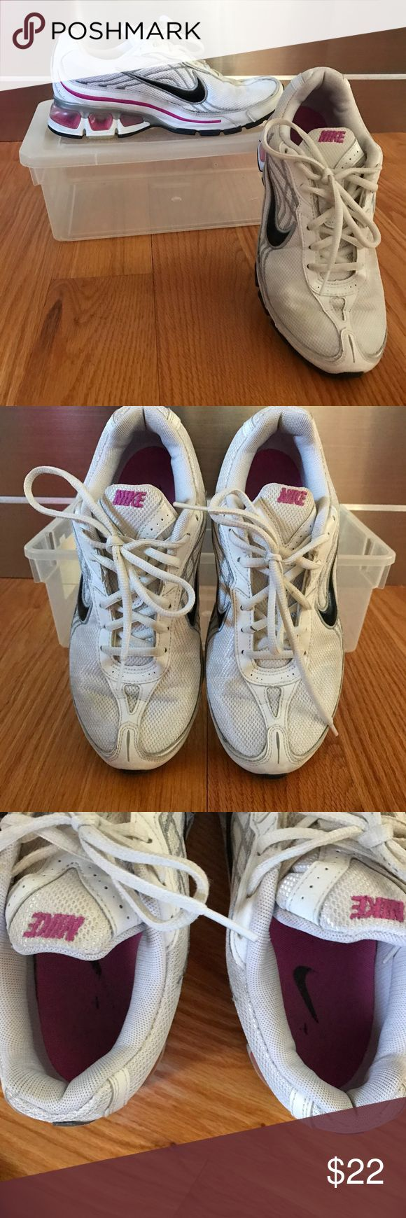 Nike Air Max Sneakers Used but in very good shape.Nike Air Max  Sneakers, white with black, pink & gray accents, gel bottom, size 8. Nike Shoes Sneakers