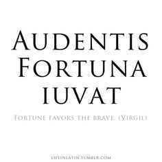 """Audentis fortuna iuvat"" which means ""Fortune favors the brave"""