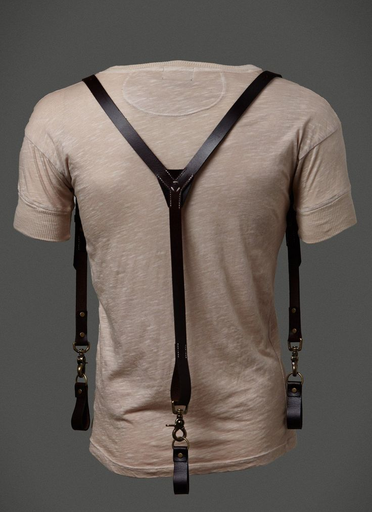 Leather Suspenders Made from fine leather with antique brass finish hardware. This item can be worn with or without a belt with detachable belt attachments. American Made Clothing and Accessories. SHE
