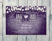 Printed Card - 50-170 Sets - Purple - Romantic Garden and Night Light Wedding Invitation and Reply Card Set - Wedding Stationery - ID210PP