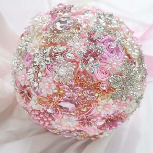 # Pink Brooch Bouquet Wedding Bouquets Information about 8 inch custom bridal bouquet, pink…