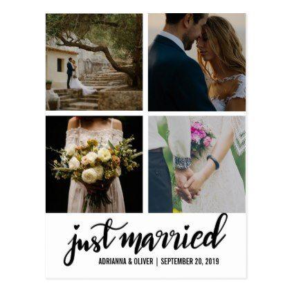 Just Married Handwritten Script Wedding Photo Postcard