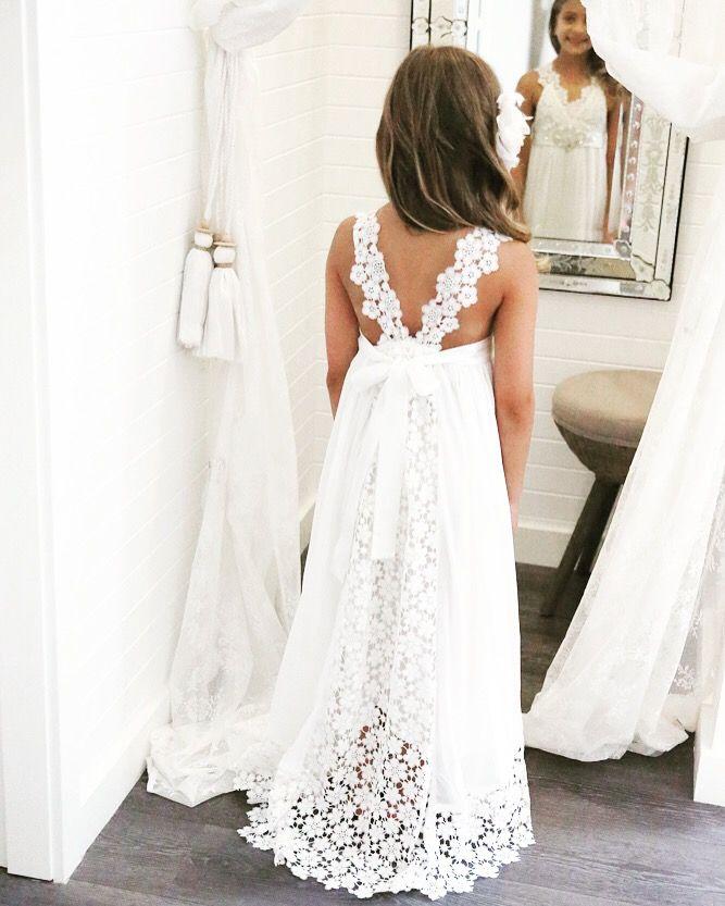Boho style flower girl dresses wedding dresses asian for Wedding flowers girl dresses