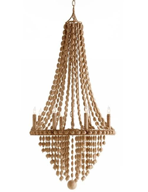 Maurice 8L Chandelier with Wood Beads