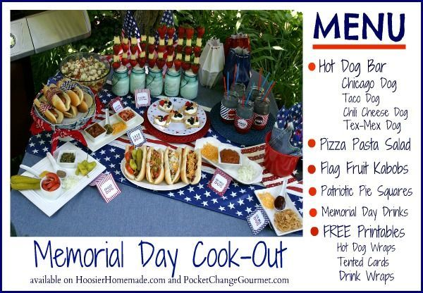 Memorial Day Cookout Menu :: Recipes + FREE Printables for your holiday celebration on HoosierHomemade.com