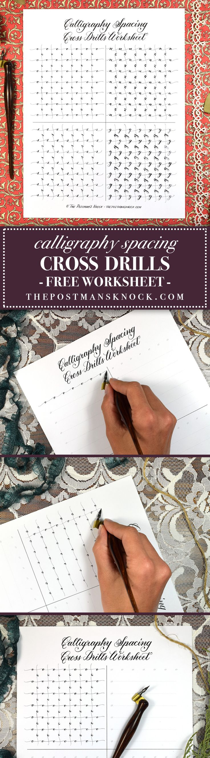 "If you have trouble with consistently spacing your calligraphed letters, then you will appreciate today's free worksheet! Print it out and practice as many times as you need to in order to develop a spacing ""eye""."