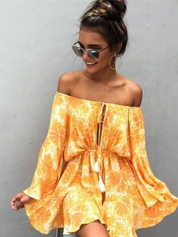 Beautiful sunny yellow and orange peasant top. Boho perfection. Would be great over jeans or a swimsuit. Fabulous off the shoulder look. #bohostyle #boho #bohemian #beach #tunic