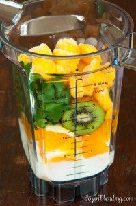 Mango Kiwi Smoothie ~ ½ cup yogurt 1 orange 1 kiwi small handful cilantro handful frozen mango chunks  Blend on high until smooth. Makes a single ~16–20-oz serving.