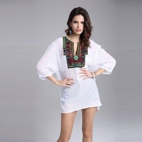 Vintage Embroidery Neck Europe Style T-shirt Casual Party Tunic