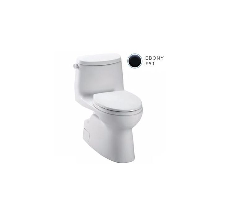Toto MS614114CEF Carlyle II Transitional One-Piece High-Efficiency Toilet 1.28GP Ebony Fixture Toilet One-Piece Elongated