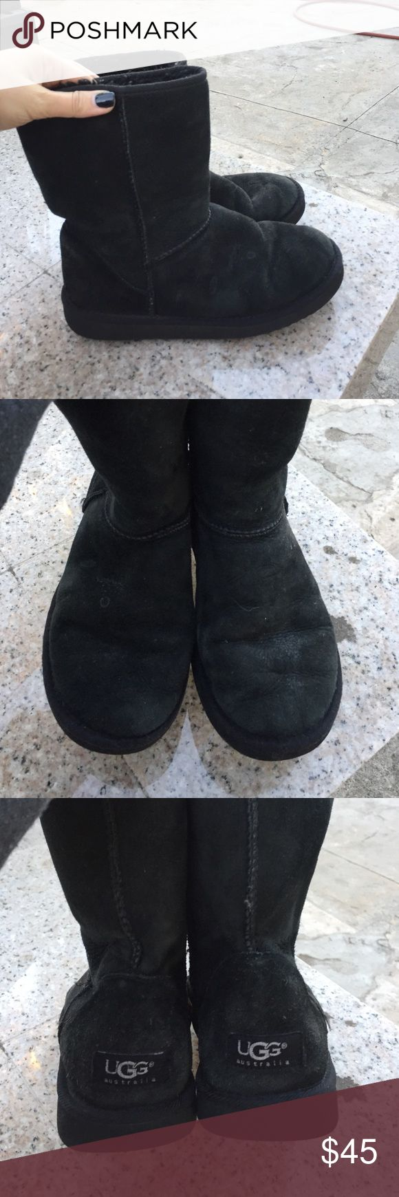 Black short UGG Minor discoloration but good condition! No rips! Lots of fur inside UGG Shoes Winter & Rain Boots