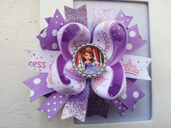 Sofia The First Hair Bow Princess Sofia The First Inspired Hair Bow Sofia The First Hair Clip
