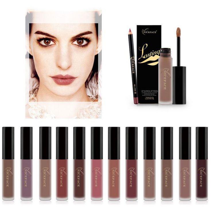 Liquide Lip Gloss Rouge À Lèvres Maquillage Longue Tenue Matte Crayon + Lipliner
