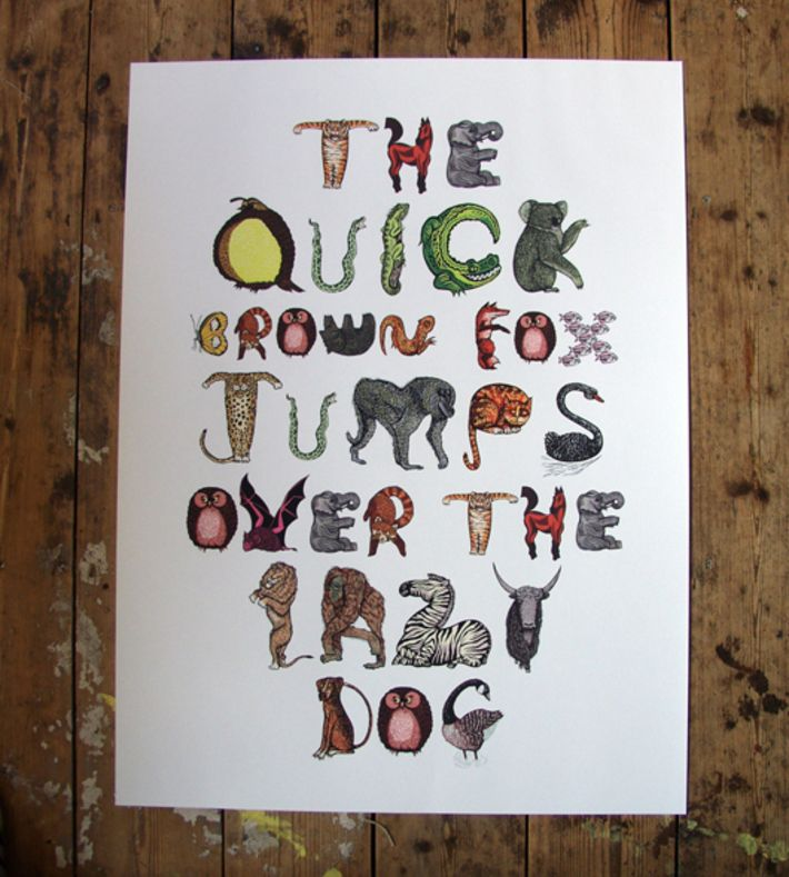 The Quick Brown Fox Jumps Over the Lazy Dog: limited edition of 100  Giclee archival print of an animal alphabet. You can buy this piece here: www.artrebels.com #artrebels #rebelkids #art