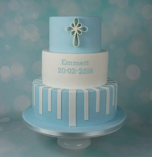 Blue baptism cake with abstract cross
