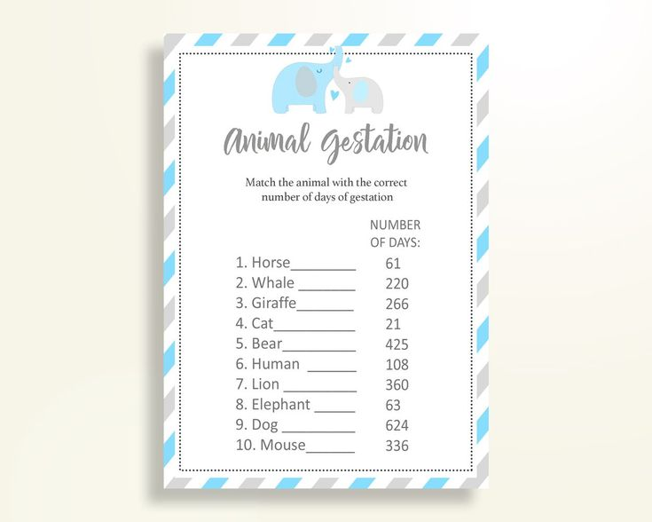 Animal Gestation Baby Shower Animal Gestation Elephant Baby Shower Animal Gestation Blue Gray Baby Shower Elephant Animal Gestation C0U64 - Digital Product #babyshowergifts #babyshowerideas