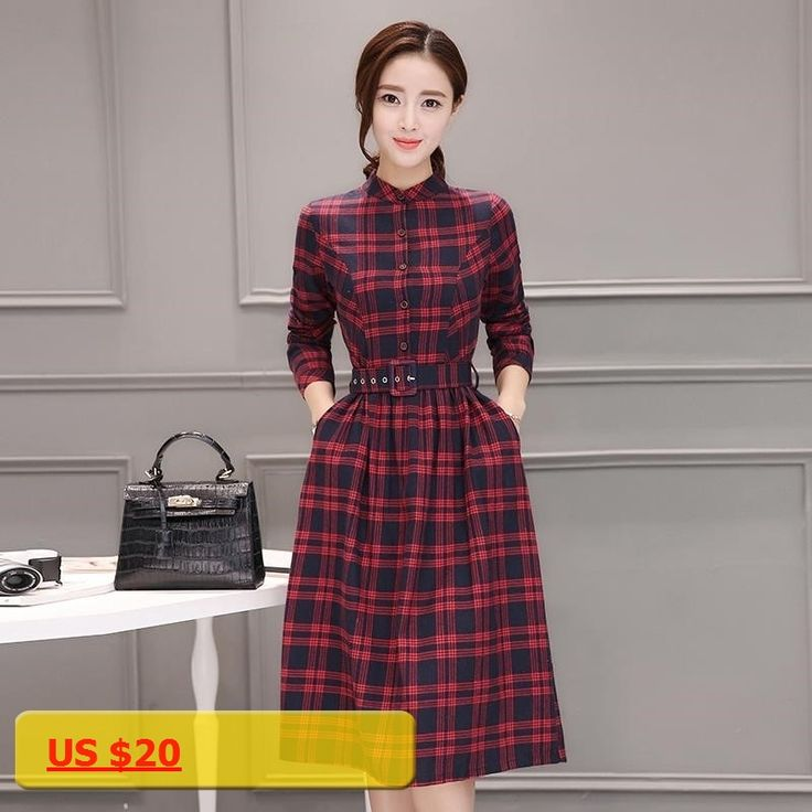 Female Fall Vestidos 2017 New Spring and Autumn Casual Clothes Women Long Sleeve Green/Red Plaid Shirt Dresses