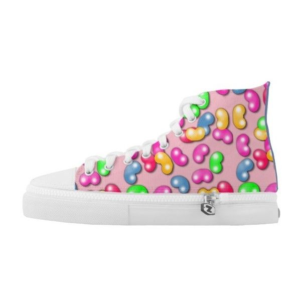 Jellybean Queen High Tops, Cotton Candy Pink High-Top Sneakers ($82) ❤ liked on Polyvore featuring shoes, sneakers, high-top sneakers, hi tops, high top trainers, pink sneakers and cotton shoes