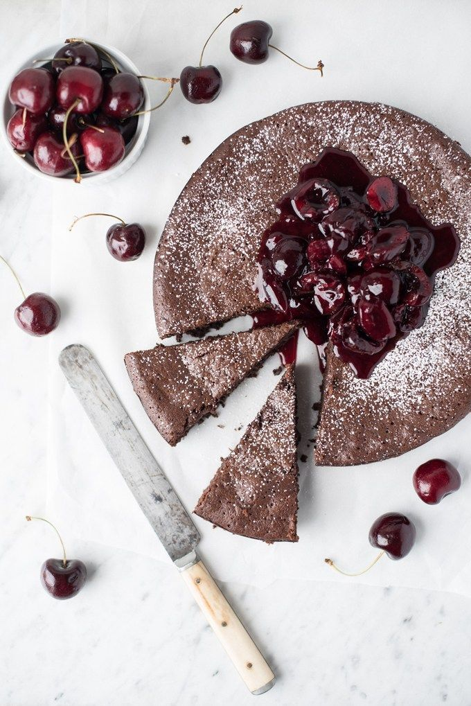 dark chocolate torte with bing cherry compote | superman cooks