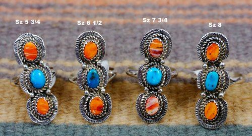 7aac28867d24 Item   556E- Long Navajo 3 Stone Turquoise Spiny Oyster Rings by R.Dawes Sz  5 3 4