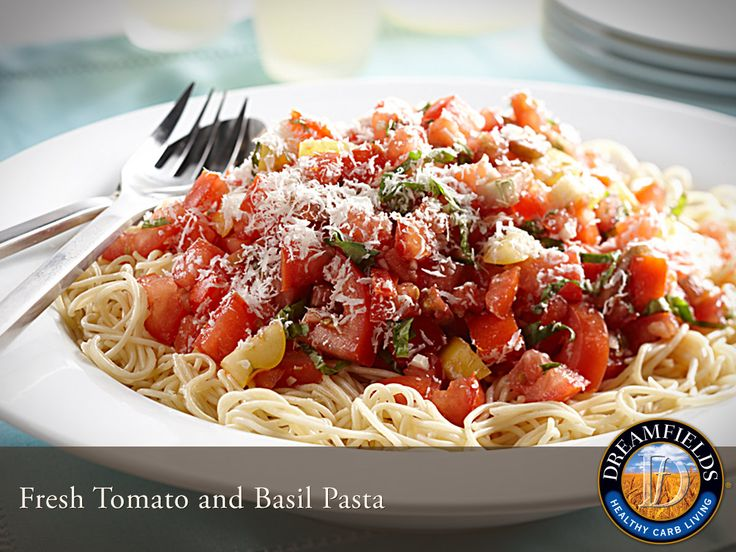 Fresh Tomato and Basil Pasta. Great tasting healthy pasta. Dreamfields Pasta has 5 grams of fiber, 7 grams of protein and a prebiotic fiber to help promote healthy digestion.