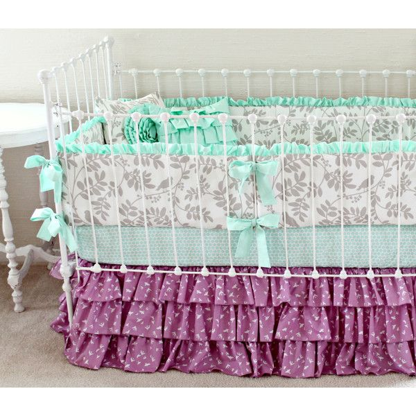 Gray and Purple Baby Bedding Mint and Purple Baby Girl Bedding Set... ($425) ❤ liked on Polyvore featuring home, children's room, children's furniture, nursery furniture, bedding, home & living and silver